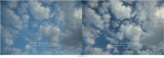 Met en zonder polarisatie. Een toename aan contrast in de lucht: een klassiek gebruik van het polarisatiefilter.