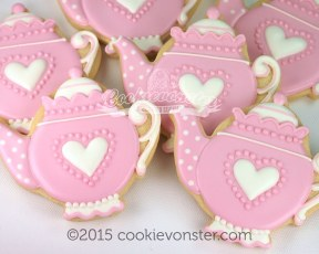Pink tea pot cookies