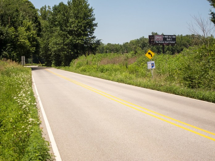 Northbound Michigan Road, southern Shelby County