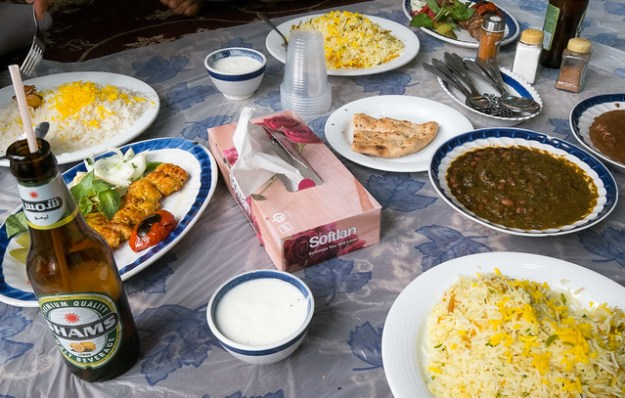 Iranian lunch, eaten on the floor.