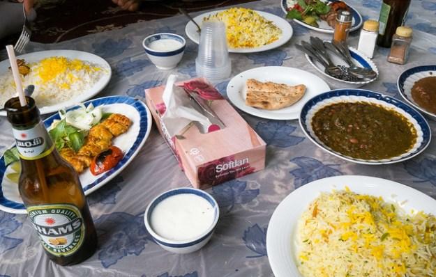 Iranian lunch, eaten on the floor.