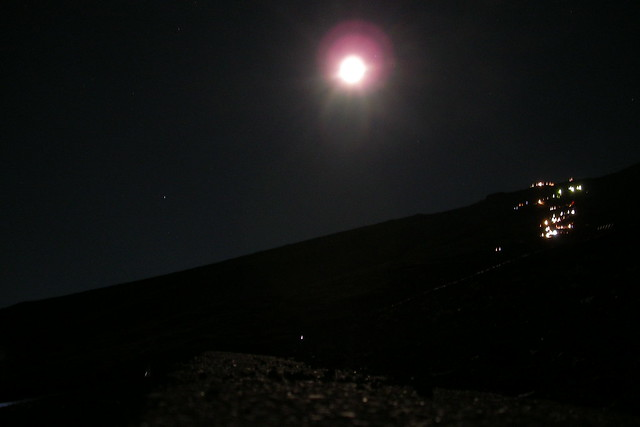 mountain with the moon