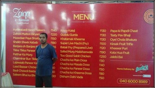 Zaiqa Hyderabad menu