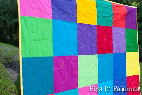 Bright squares quilt closeup
