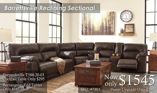 Barrettsville Reclining Sectional NEW