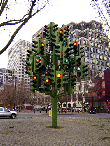 Traffic light sculpture, Isle of Dogs, Tower Hamlets