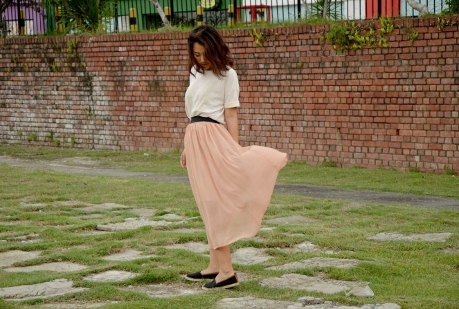Cotton On jersey top, vintage maxi chiffon skirt, Target espadrilles