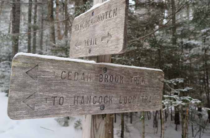 Cedar Brook Trail Sign Winter