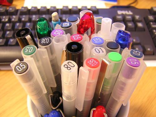 a potful of pens