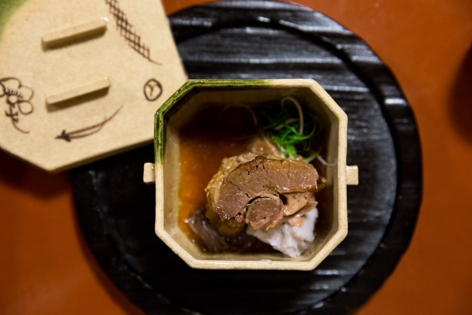 Mountain wild boar and ebi imo at Miyamasou, Kyoto