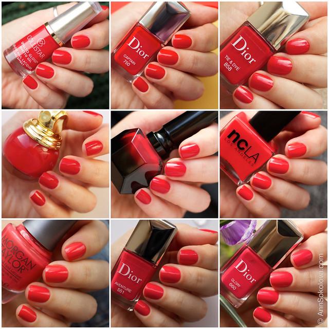Bright summer red nail polishes   NCLA, Dior, Louboutin, Collistar, Diorific