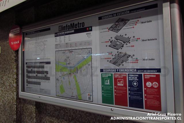 Mapa - Metro de Santiago - Baquedano (L1)