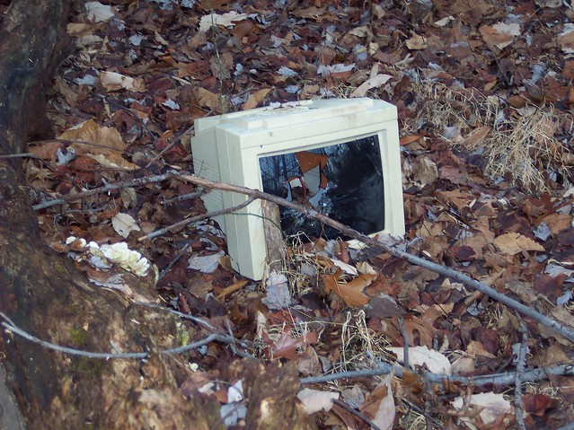 Broken computer monitor found in the woods