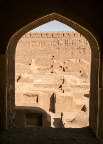 Rayen Window. Mud-brick city in the deserts of Iran.