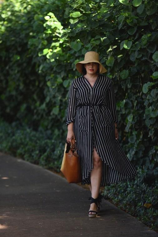 Floppy Hat, Stripe Shirtdress