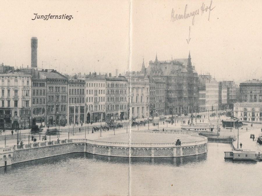 Straatnamen in Hamburg   Ansichtkaart Jungfernstieg