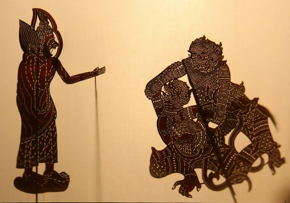 Shadow puppets are made of perforated leather