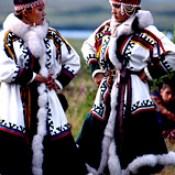 Nenets women at dancing ceremony, Pechora Delta, Nenets Autonomous Region, Russia.