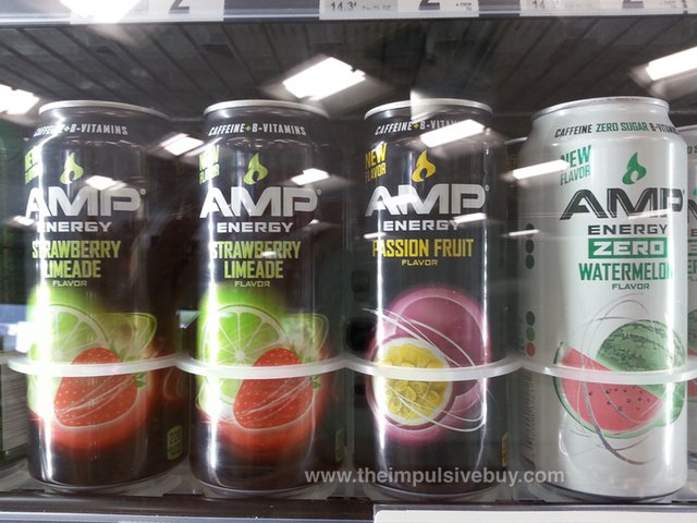 AMP Energy (Strawberry Limeade, Passion Fruit, and Zero Watermelon)