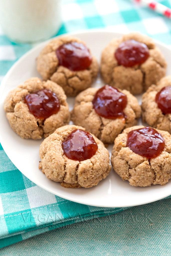 Gluten Free Vegan Almond Butter–Jam Thumbprint Cookies