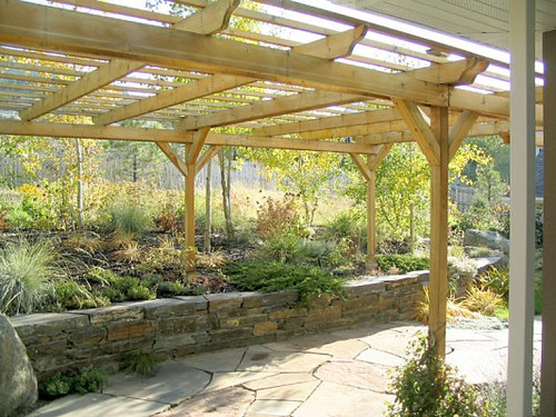 Pergola And Stone Wall Stone Patio Flickr Photo Sharing