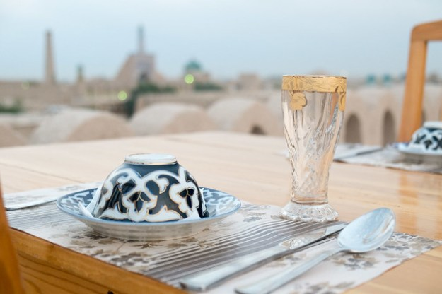 Dinner on the roof of the Meros Bed and Breakfast in Khiva, Uzbekistan