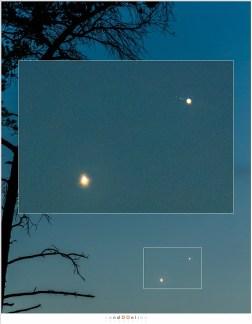 Een uitvergroting laat duidelijk de manen zien, en een zwakke sikkel bij Venus