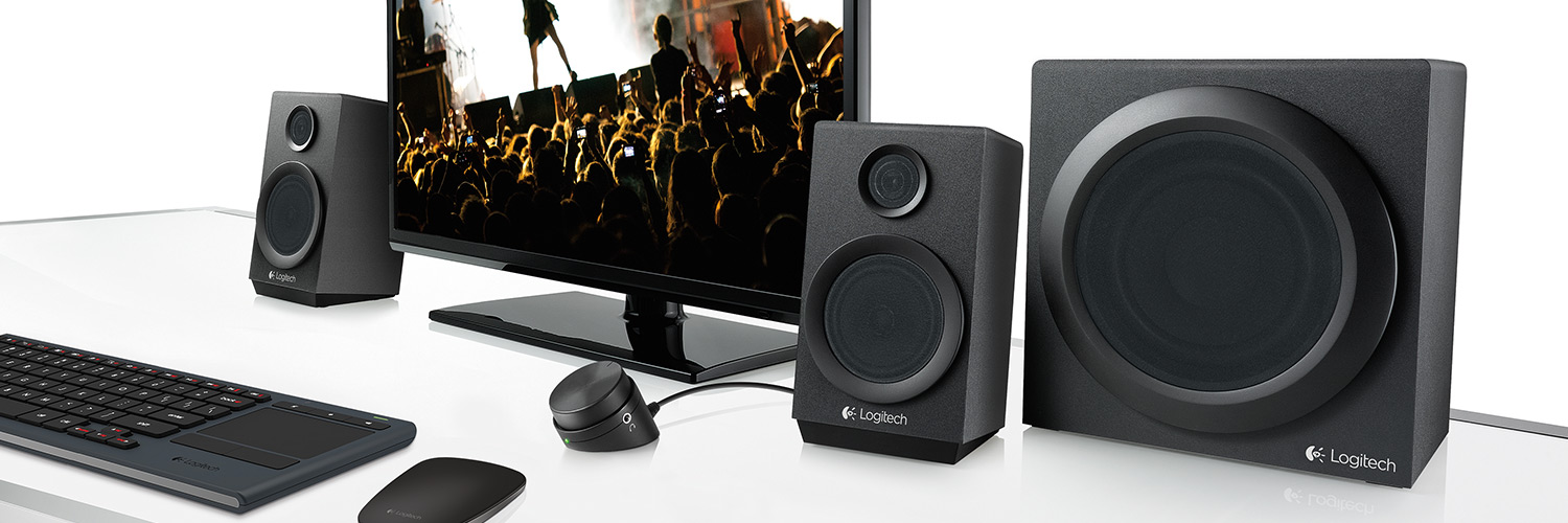 Het Logitech Z333 2.1 multimedia speakersysteem