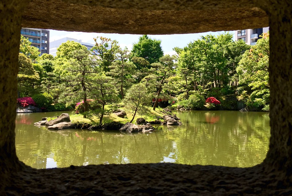 A view from the inside the stone lamp at the Old Yasuda Garden