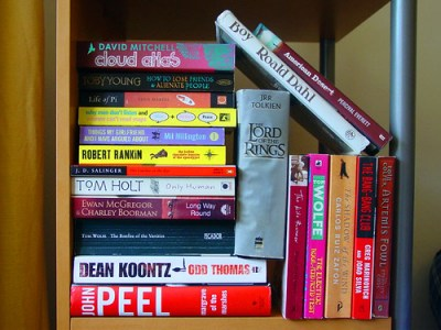haphazard books on shelf