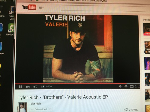 "day195: listening to @TylerRichMusic's song ""Brothers"" on YouTube"