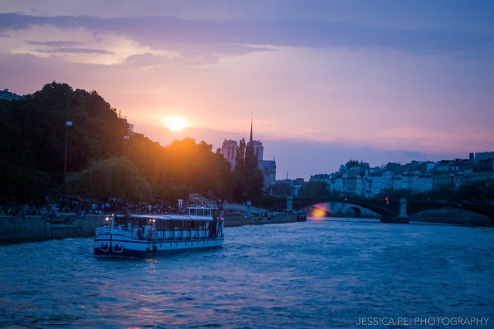 Sunset Seine River Paris