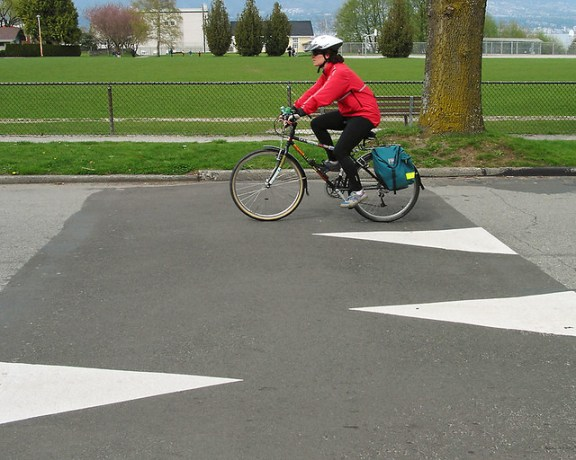 Cyclist on speed hump