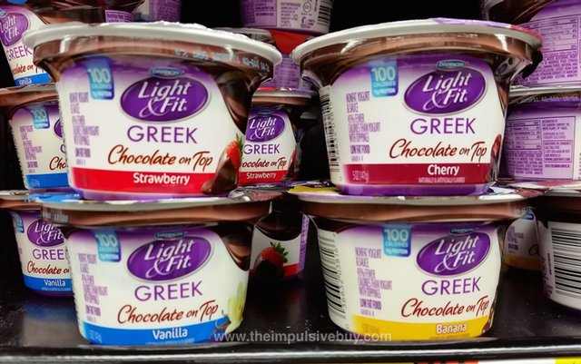 Dannon Light & Fit Chocolate on Top Greek Yogurt (Strawberry, Cherry, Vanilla, and Banana)