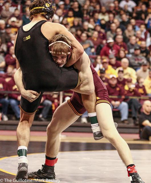 125: No. 1 Thomas Gilman (Iowa) fall (5:58) No. 6 Ethan Lizak (Minn)   Minn 8 – Iowa 24*