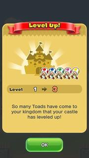 เพิ่มจำนวน Toad ที่เราได้จาก Toad Rally แล้วเลเวลของปราสาทก็จะเพิ่ม