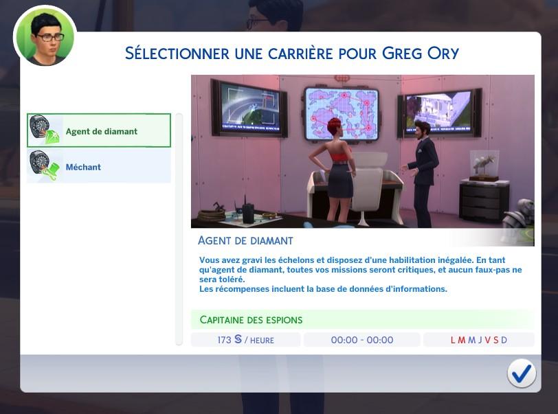 Carrière agent secret Les Sims 4