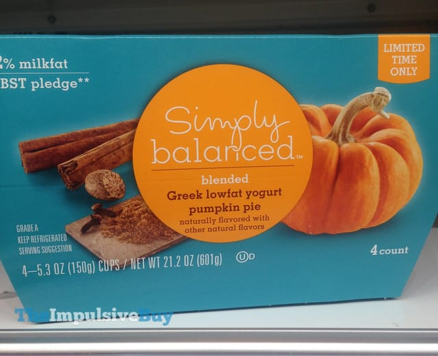 Simply Balanced Limited Time Only Pumpkin Pie Greek Lowfat Yogurt