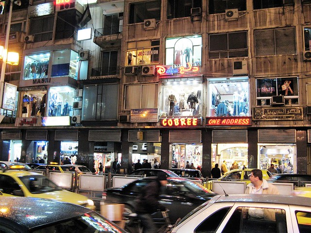 Bustling streets of Damascus at night