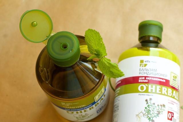 10 O'Herbal ElfaPharm 100% natural Шампунь для жирных волос, бальзам кондиционер для окрашенных