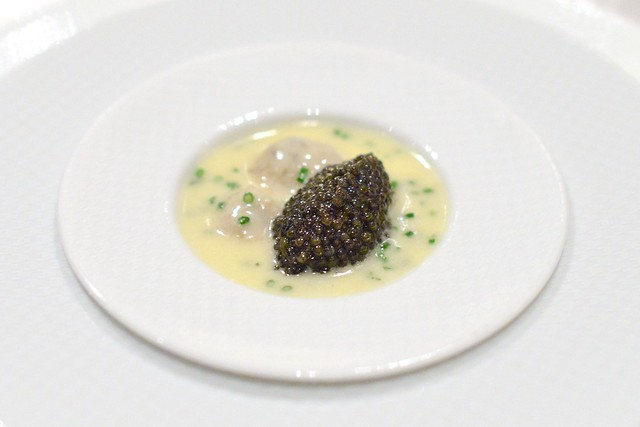 """""""OYSTERS AND PEARLS"""" """"Sabayon"""" of Pearl Tapioca with Island Creek Oysters and White Sturgeon Caviar"""