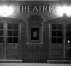 Black and White image of the front of a theatre.