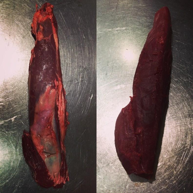 Solomillo limpio para el ceviche de carne