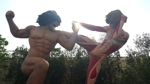 จำลองฉากไททันสู้กันระหว่าง Eren (15 เมตร) กับ Female Titan (14 เมตร)