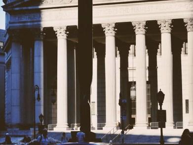 July sun, evening, columns