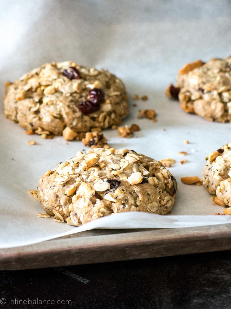 4 breakfast cookies on a cookie sheet