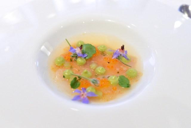 Poisson Cru Celtuce, Avocado, Fermented Melisse Tea