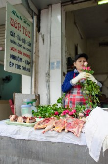 Roses and Meat Vendor