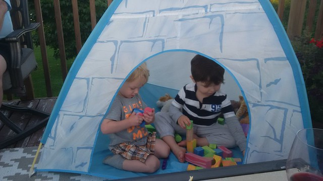 Cousins building in the igloo