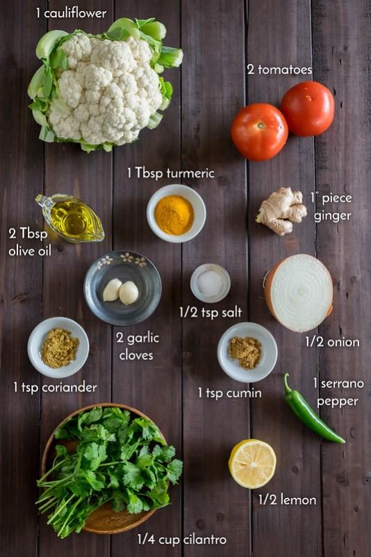 fresh ingredients for roasted tandoori cauliflower